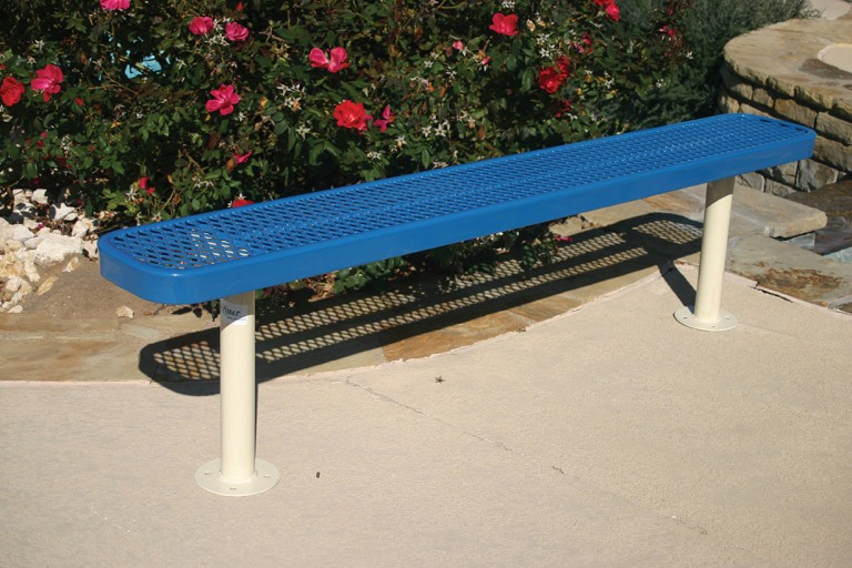 Blue Rectangular Bench Without Back