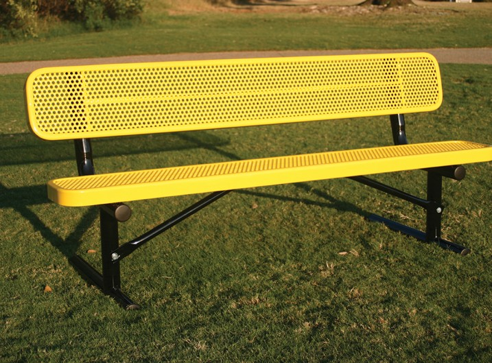 rectangular bench with back