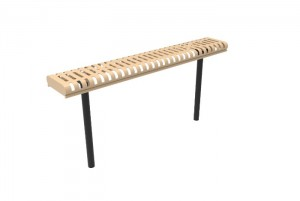 Rolled Bench without Back - Slatted Steel - Inground Mount