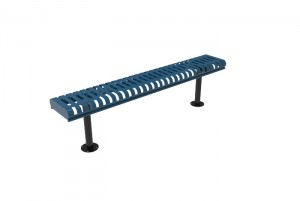 Rolled Bench without Back - Slatted Steel - Surface Mount