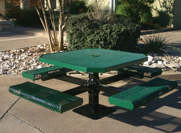 Octagon Rolled Pedestal Picnic Table