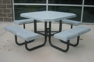White Rolled Octagon Picnic Table