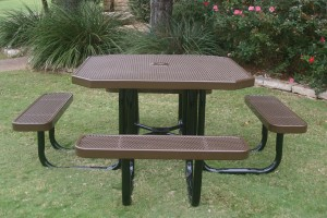 Portable Octagon Picnic Table Brown