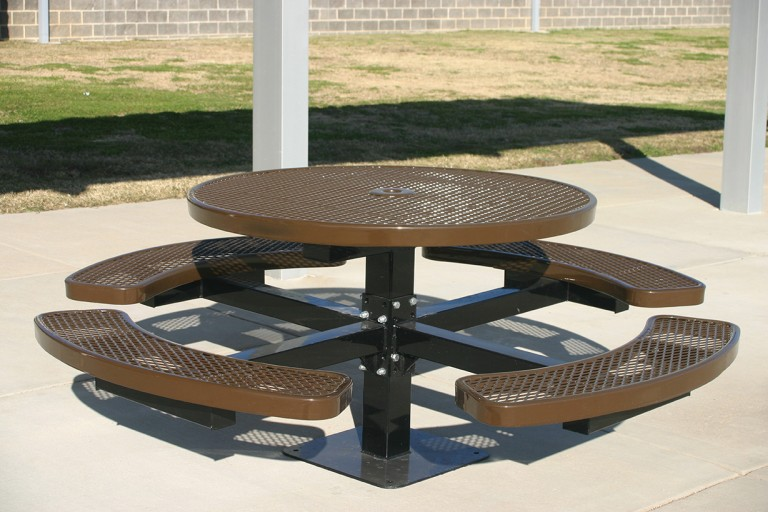 Round Pedestal Picnic Table - Brown