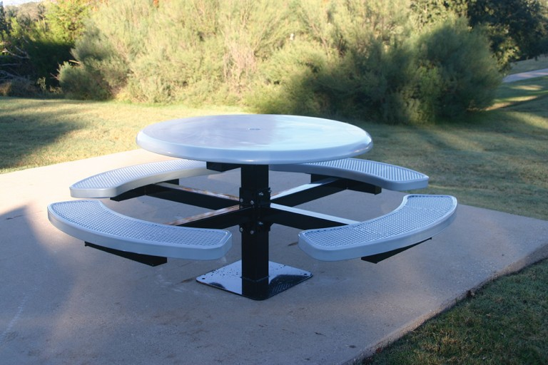 Round Solid Top Pedestal Picnic Table