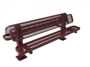 6' Double Pedestal Bench - Expanded Metal -Surface Mount