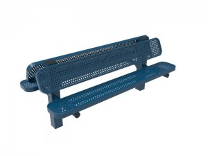6' Double Pedestal Bench - Punched Steel -InGround