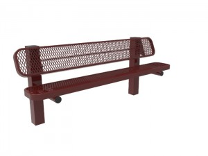 6' Single Pedestal Bench - Expanded Metal -InGround