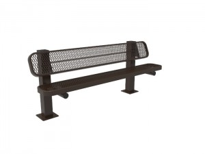 6' Single Pedestal Bench - Expanded Metal -Surface Mount