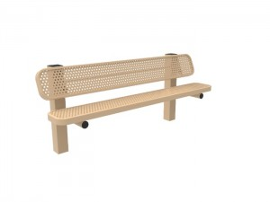 6' Single Pedestal Bench - Punched Steel -InGround