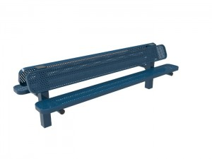 8' Double Pedestal Bench - Punched Steel -InGround