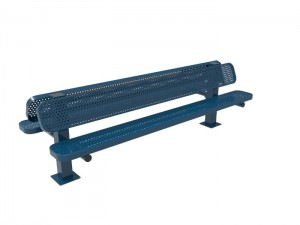 8' Double Pedestal Bench - Punched Steel -Surface Mount