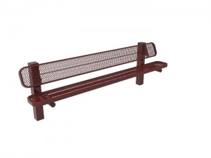 8' Single Pedestal Bench - Expanded Metal -InGround