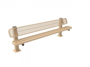 8' Single Pedestal Bench - Expanded Metal -Surface Mount
